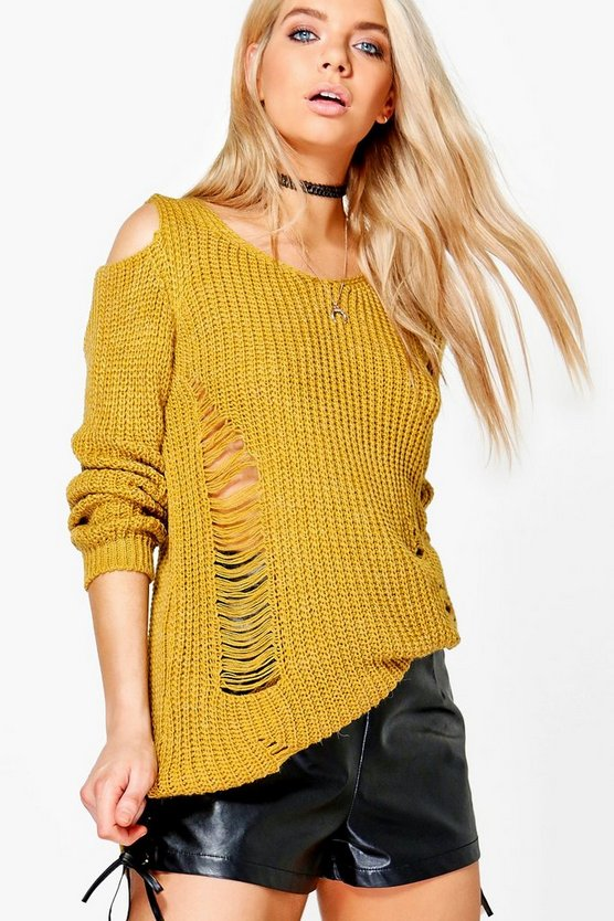 Lottie Soft Knit Cold Shoulder Distressed Jumper Dress