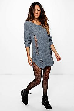 Jessica Soft Knit Distressed Detail Jumper Dress