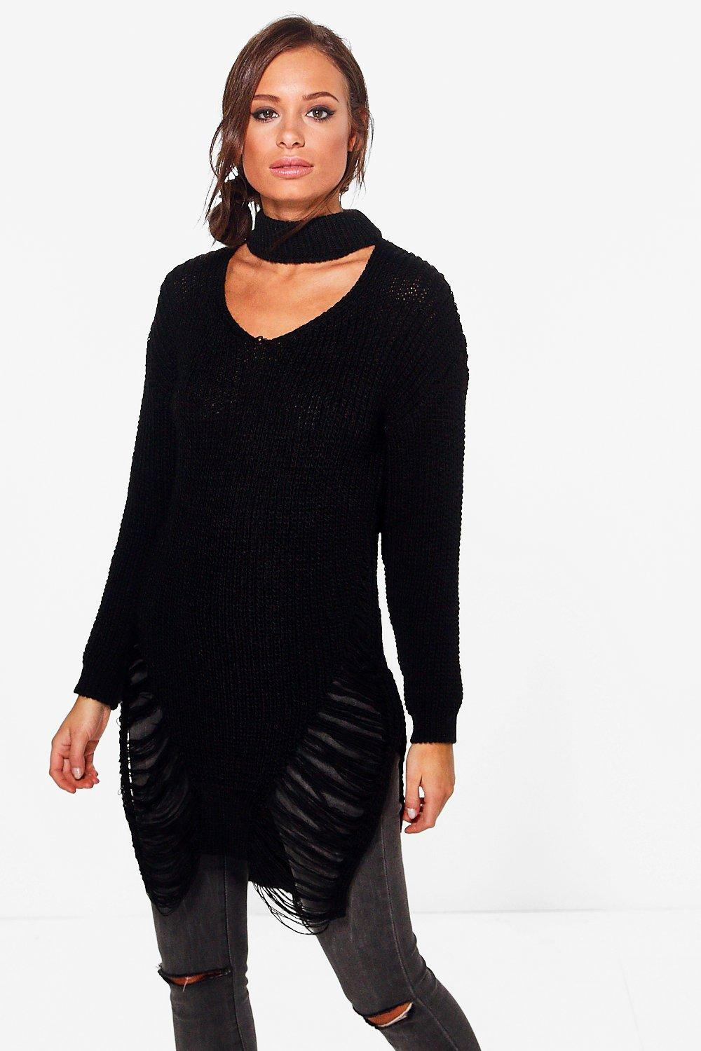 Scarlett Distressed Hem Choker Jumper