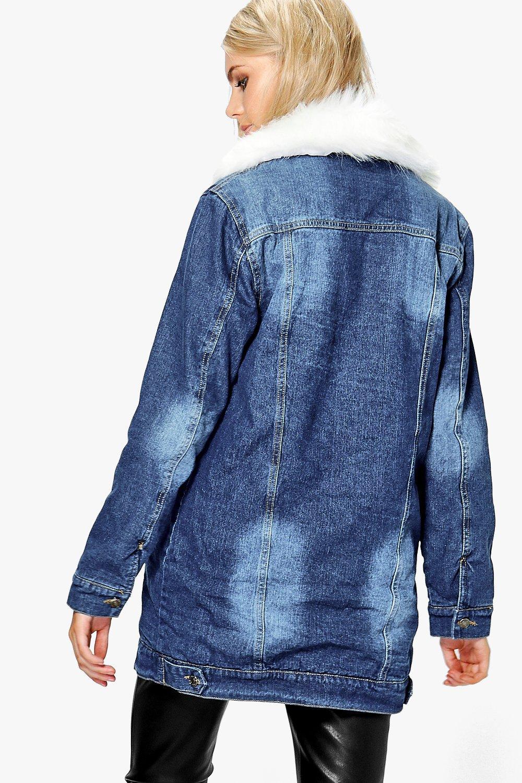 Boohoo Womens Roxie Lined Faux Fur Collar Denim Jacket