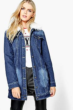 Roxie Lined Faux Fur Collar Denim Jacket