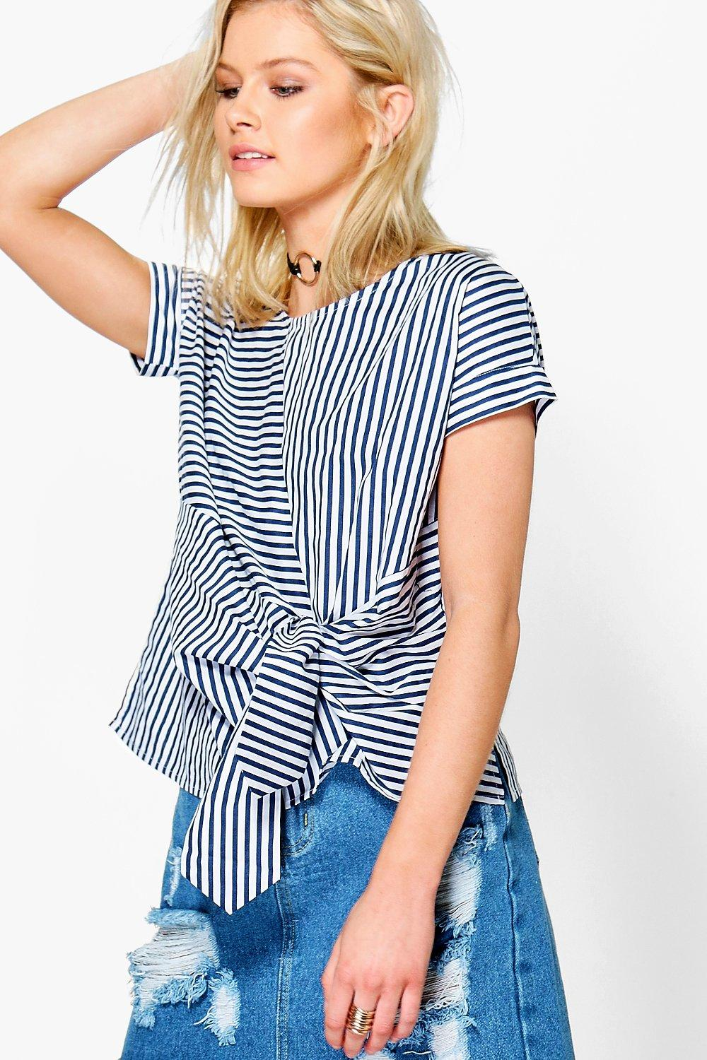 Maisie Mixed Stripe Tie Front Shell Top