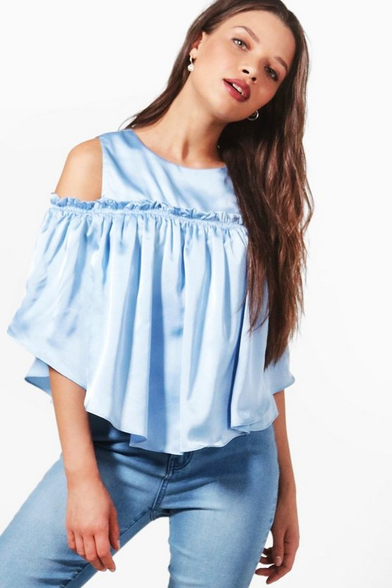 Selina Cold Shoulder Satin top