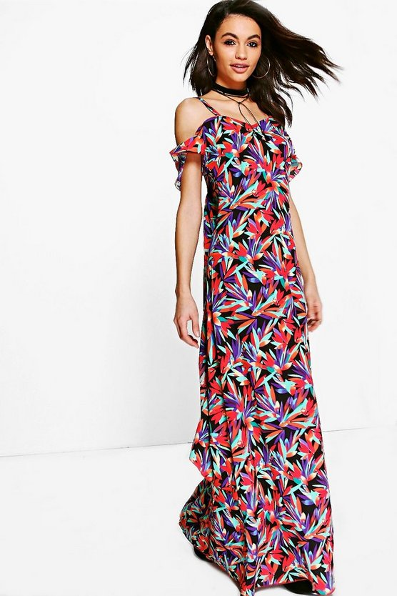 Neve Tropicana Print Ruffle Back Maxi Dress