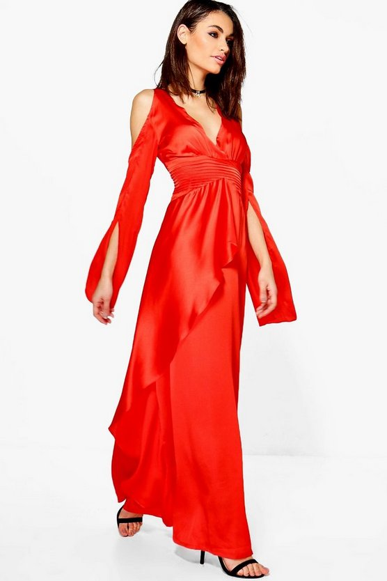 Boutique Ria Satin Cold Shoulder Maxi Dress