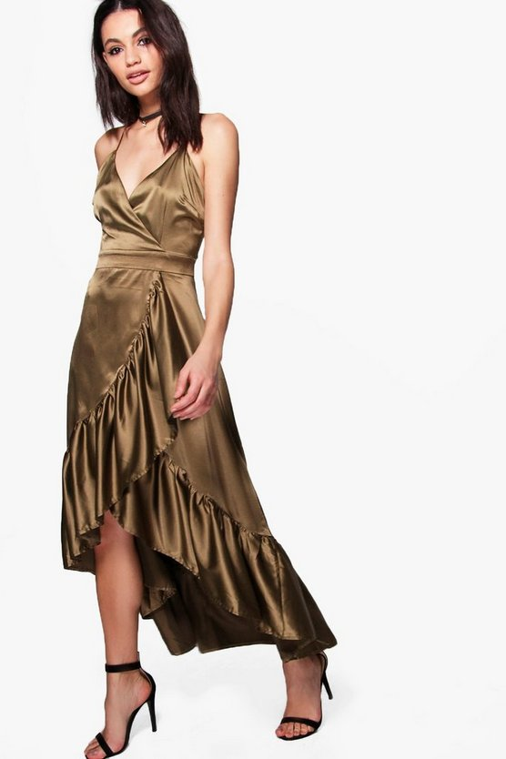 Boutique Bea Satin Ruffle Wrap Maxi Dress