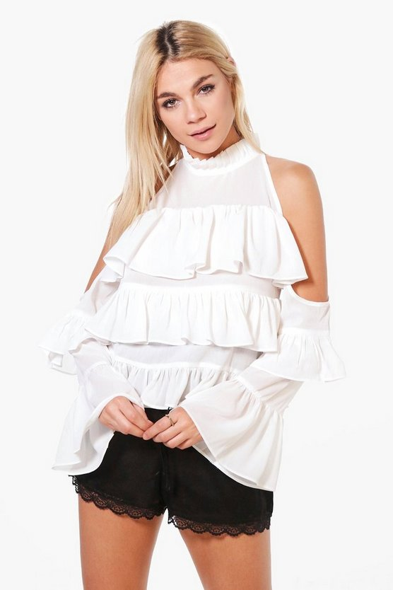 Eleanor Ruffle Cold Shoulder Blouse