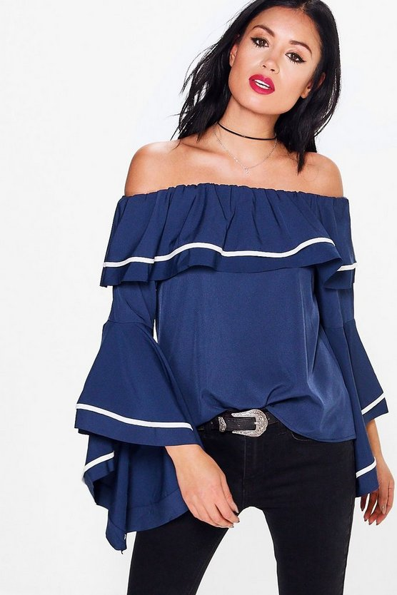 Hannah Flute Sleeve Piped Bardot Top