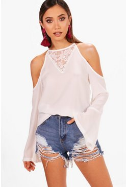 Maddison Lace Insert Cold Shoulder Top