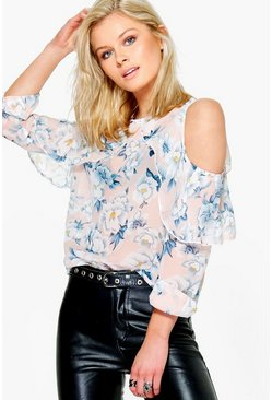Connie Floral Cold Shoulder Top