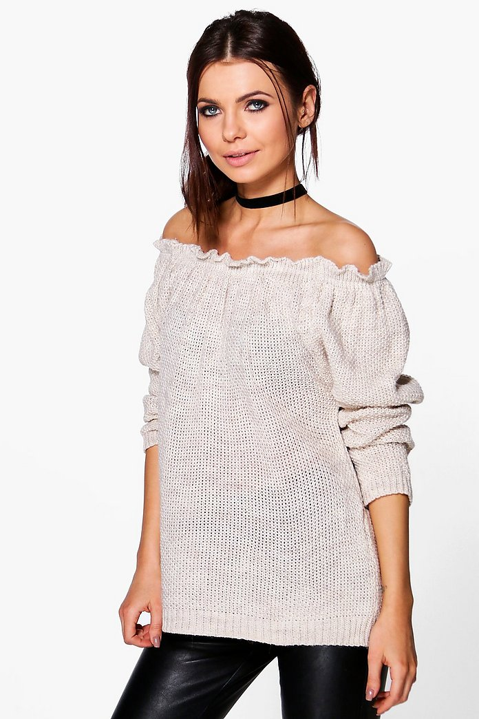 Ellie Off The Shoulder Knitted Jumper