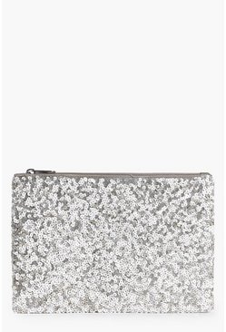 Katherine Bridal Gold Sequin Zip Top Clutch