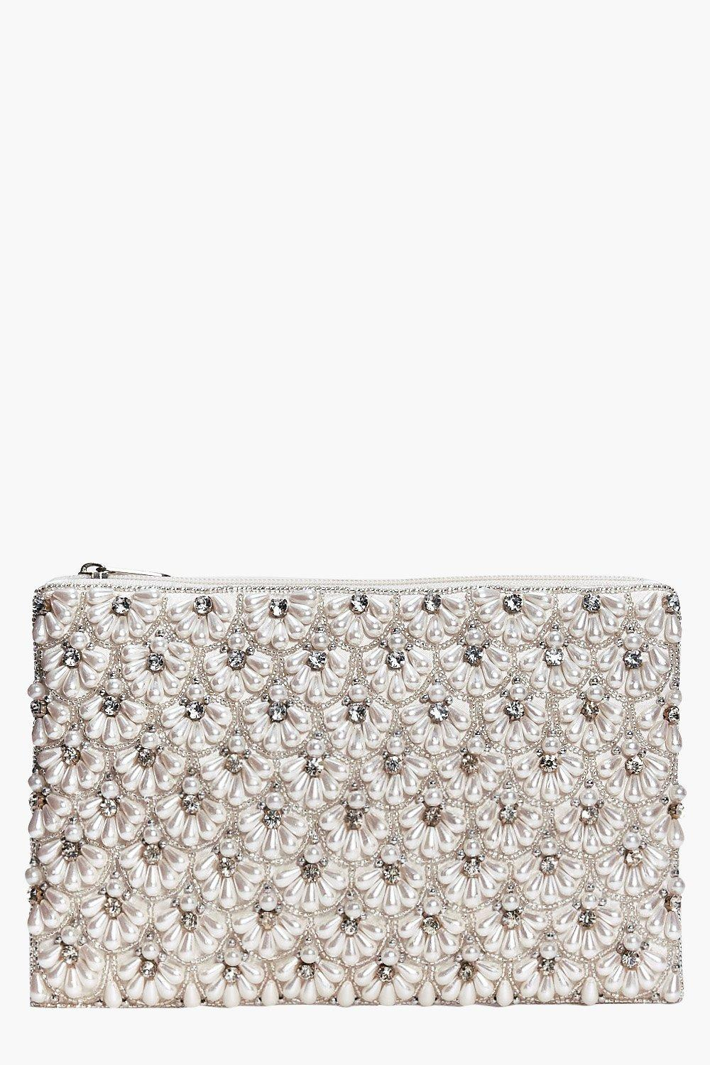 Boutique Scalloped Bridal Beaded Clutch - cream -