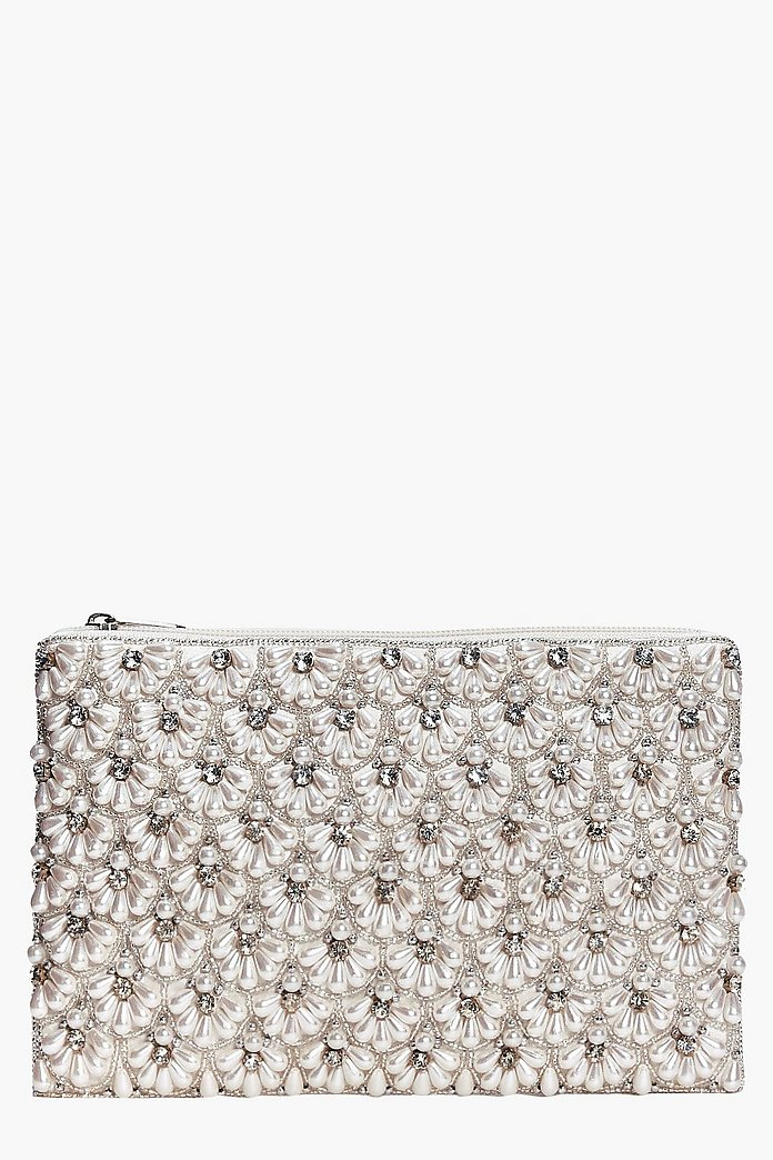 Connie Boutique Scalloped Bridal Beaded Clutch