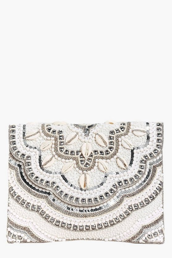 Ava Bridal Bead & Shell Scallop Edge Clutch