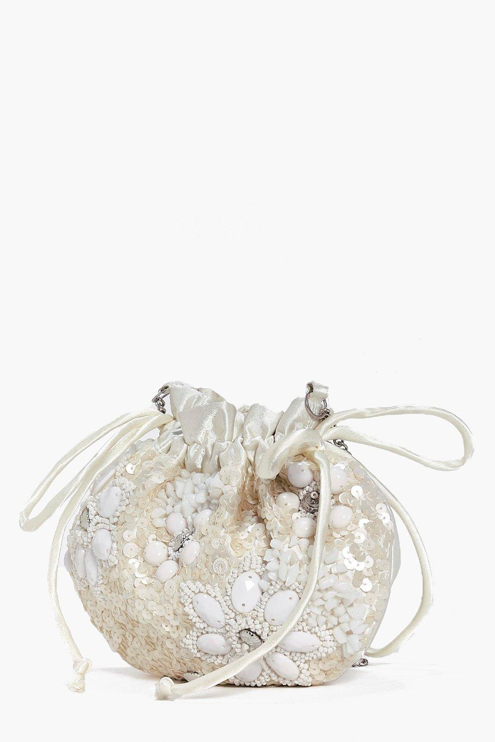 Bridal Floral Pouch Cross Body Bag - cream - Macey