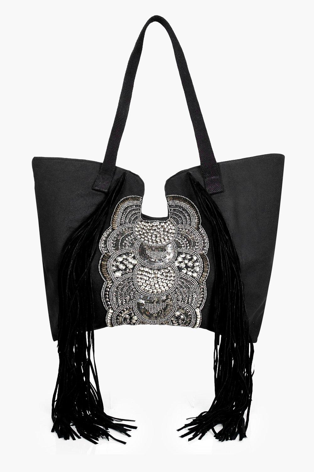 Fringed & Embellished Shopper Bag - black - Ebony