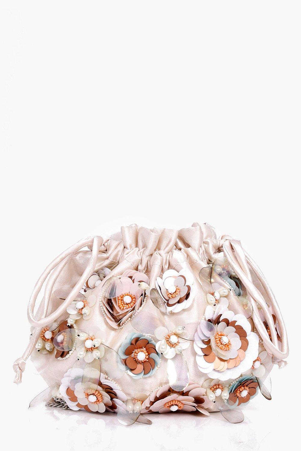 Bridal Floral Pouch Cross Body Bag - nude - Lucie