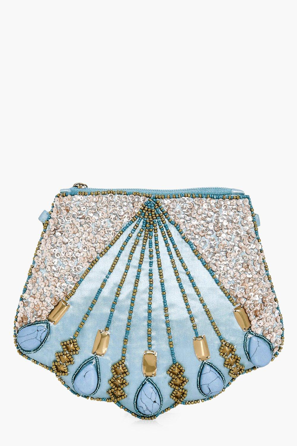 Boutique Shell Beaded Clutch - green - Hope Boutiq