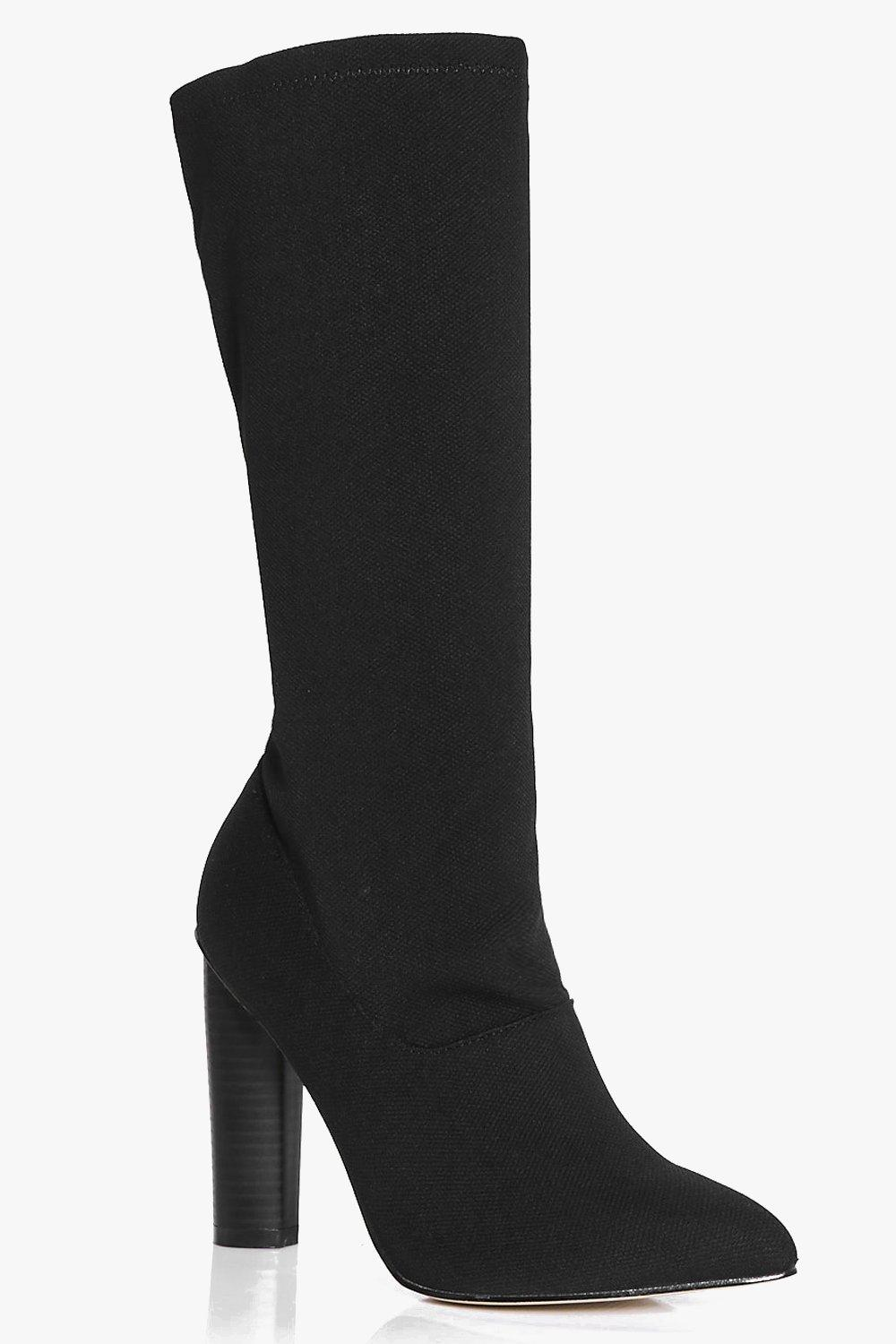 Jemima Calf High Cylinder Heel Sock Boot