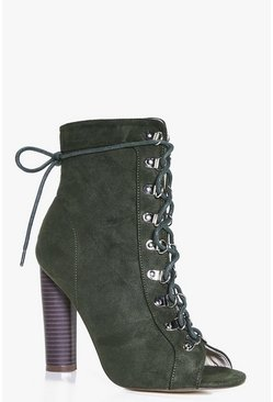 Rebecca Lace Up Block Heel Shoe Boot