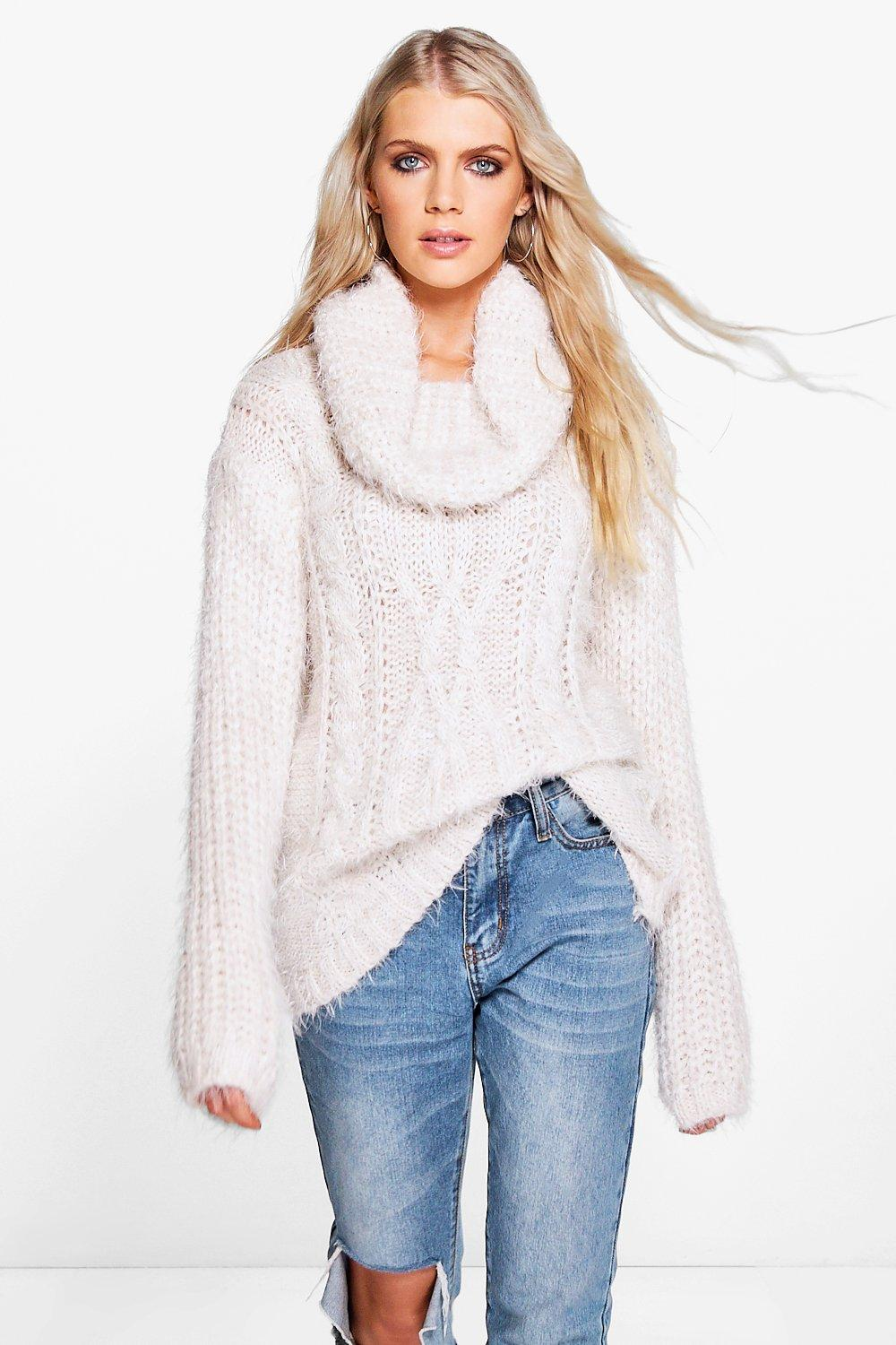 Faith Cowl Neck Fluffy Knit Jumper