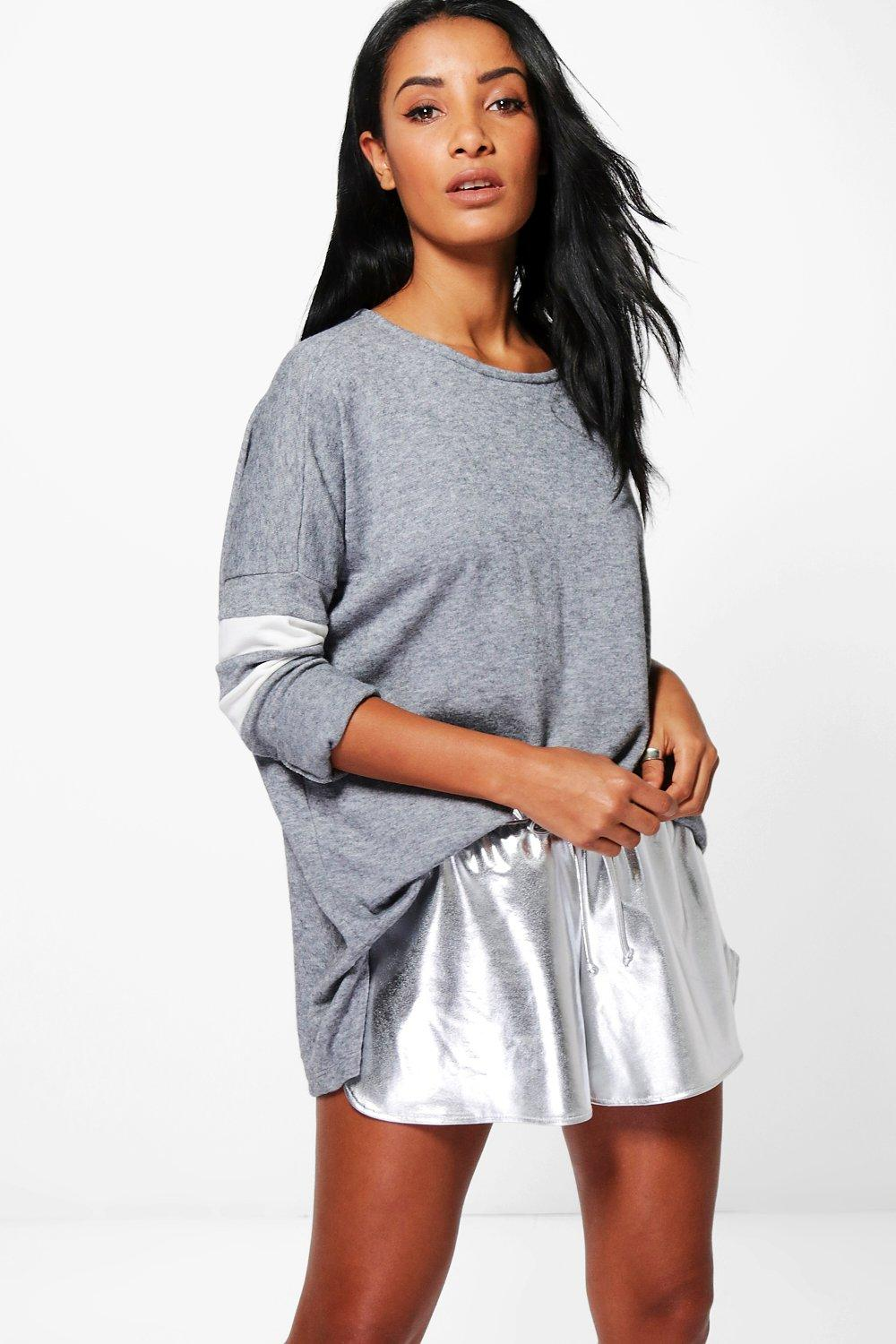 Knitted Sporty Jumper - grey