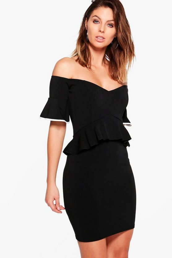 Fay Off Shoulder Peplum Frill Detail Bodycon Dress