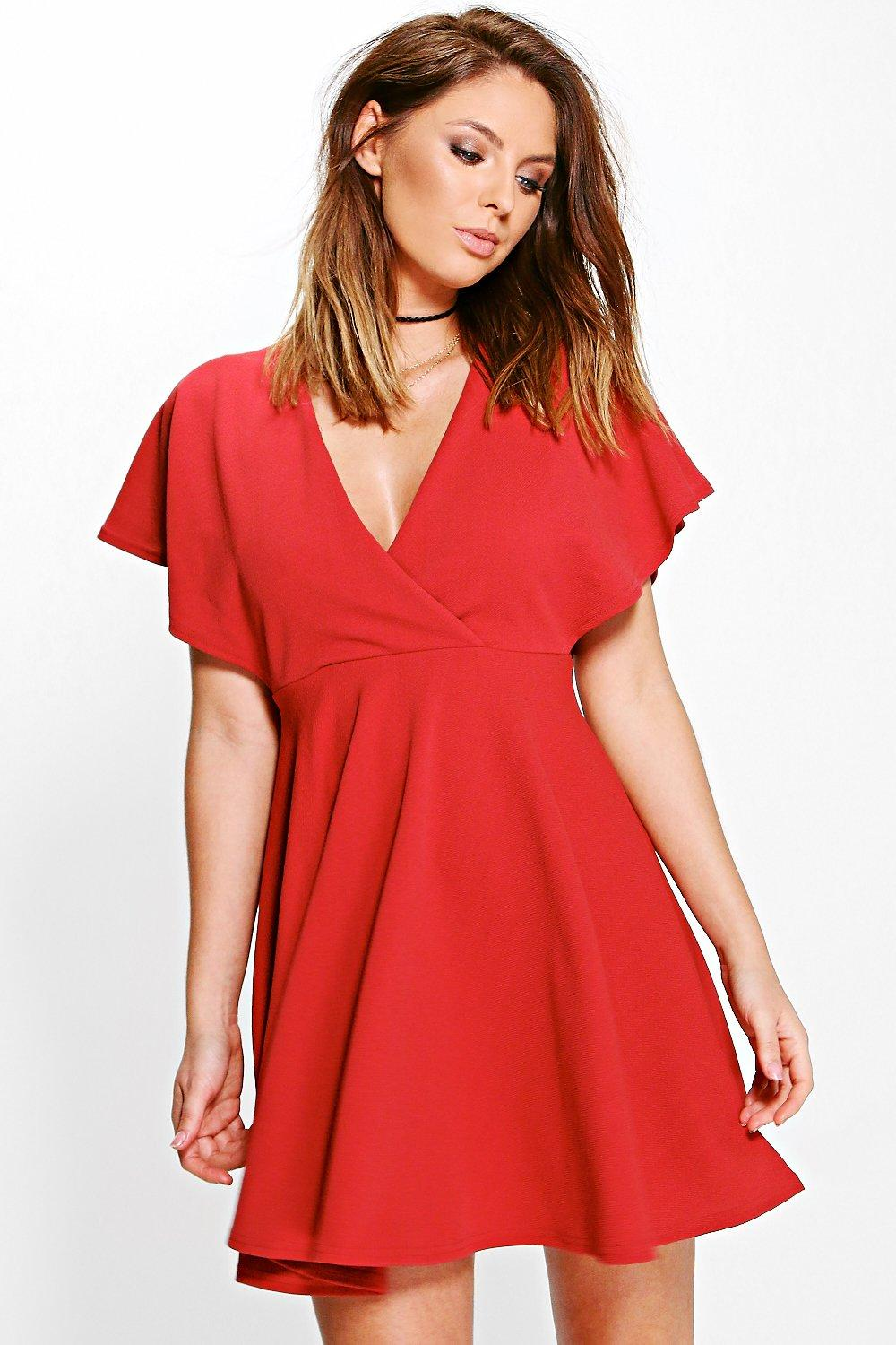Melanie Wrap Skater Dress