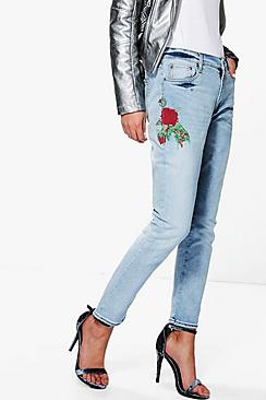 Emma Embroidered Slim Fit Boyfriend Jeans