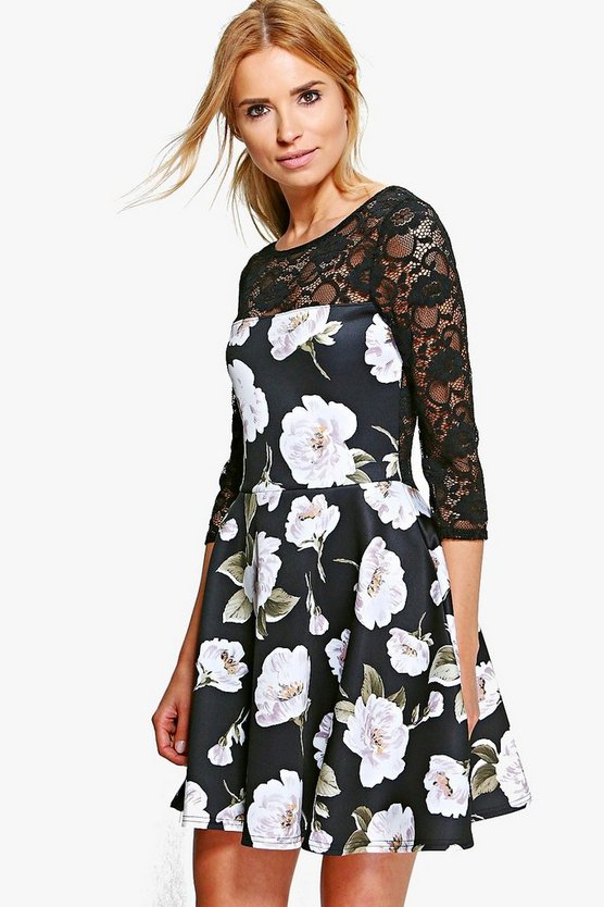 Oana Dark Floral Lace Contrast Skater Dress
