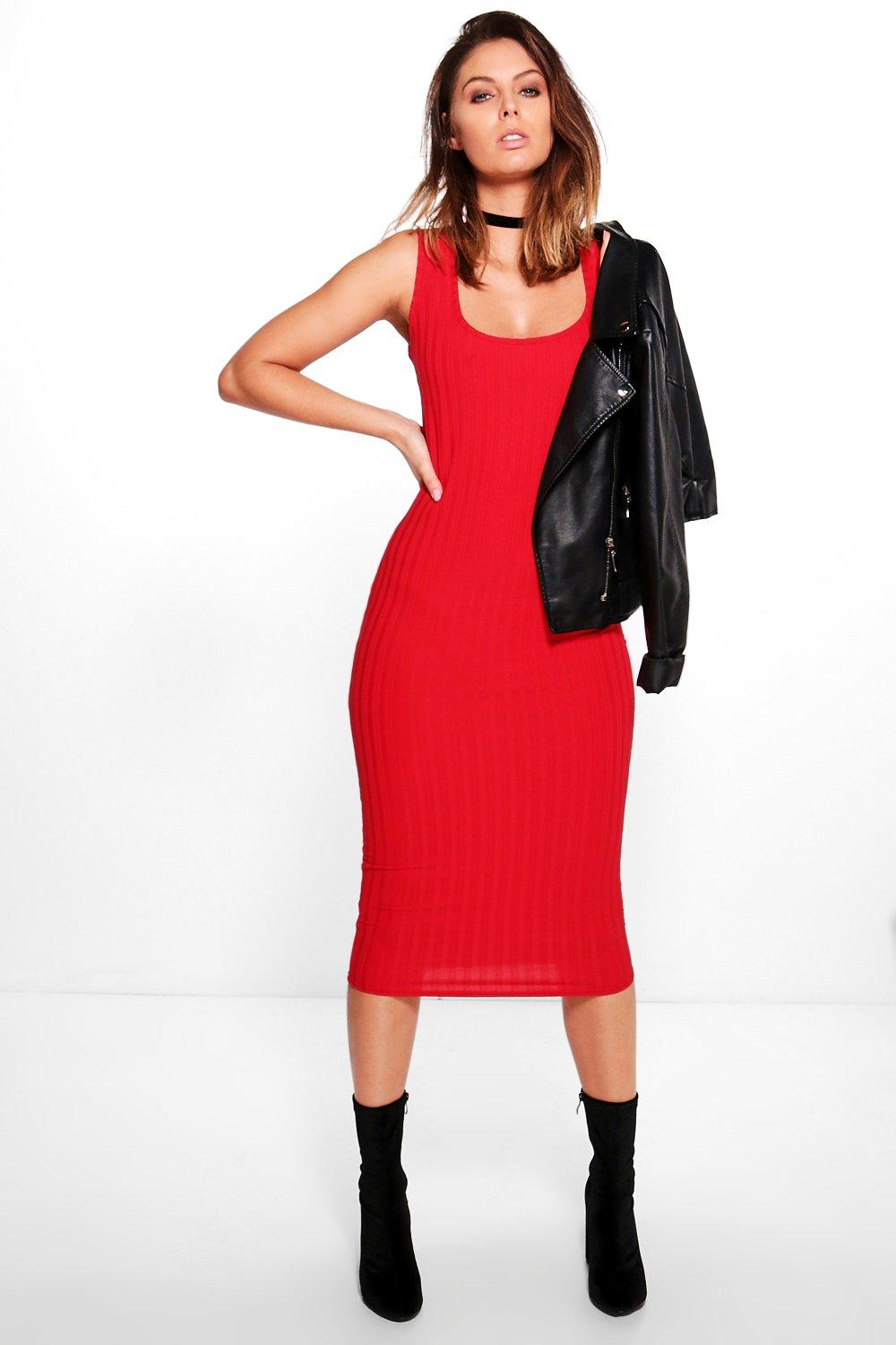 Jo Ribbed Square Neck Midi Bodycon Dress