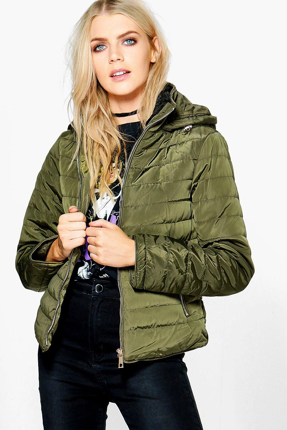 Crop Hooded Bubble Coat  khaki