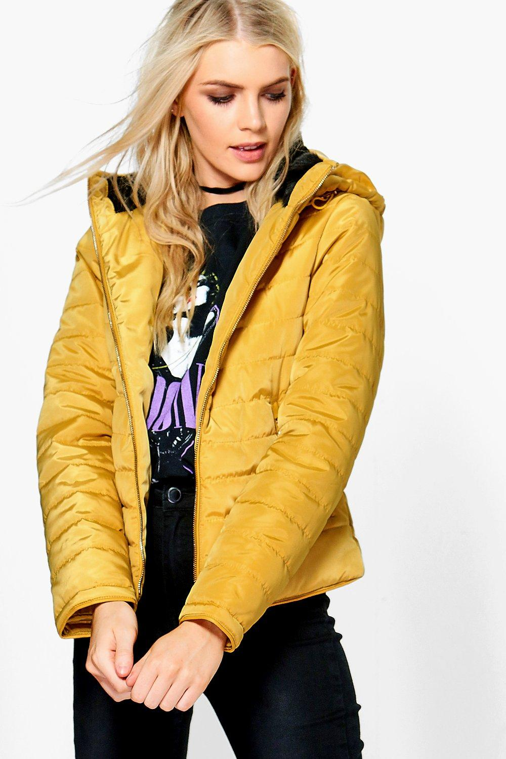 Crop Hooded Bubble Coat  mustard