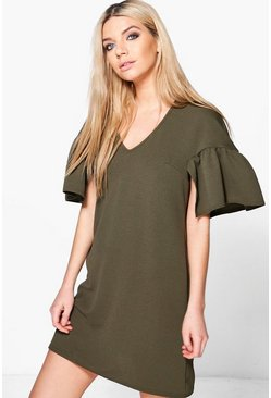 Agatha Ruffle Sleeve Shift Dress