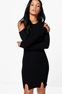 Anna Tie Sleeve Ribbed Bodycon Dress