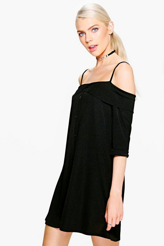 Ivy Frill Cold Shulder Button Down Shift Dress