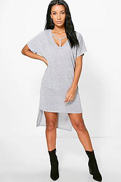Veronique Strap Detail Dip Hem Dress