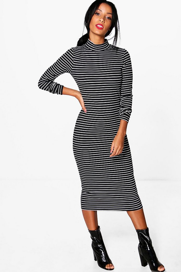 Cora High Neck Striped Ribbed Bodycon Midi Dress