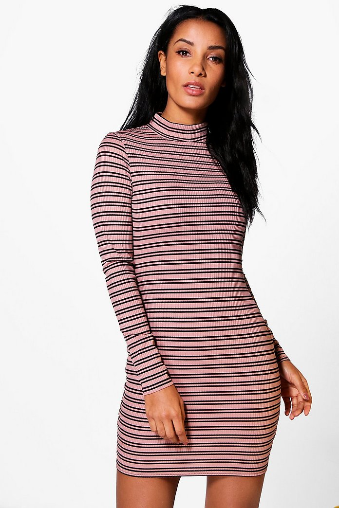 Luna High Neck Ribbed Stripe Bodycon Dress