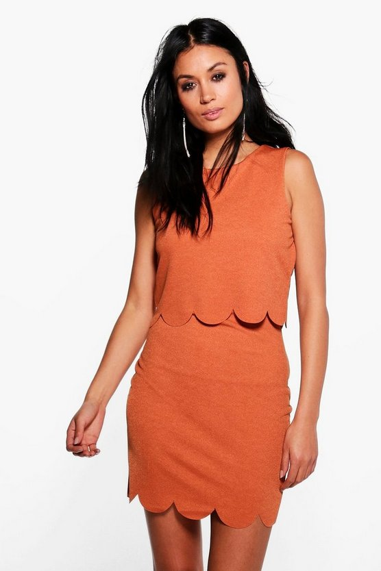 Rhea Scallop Double Layer Bodycon Dress