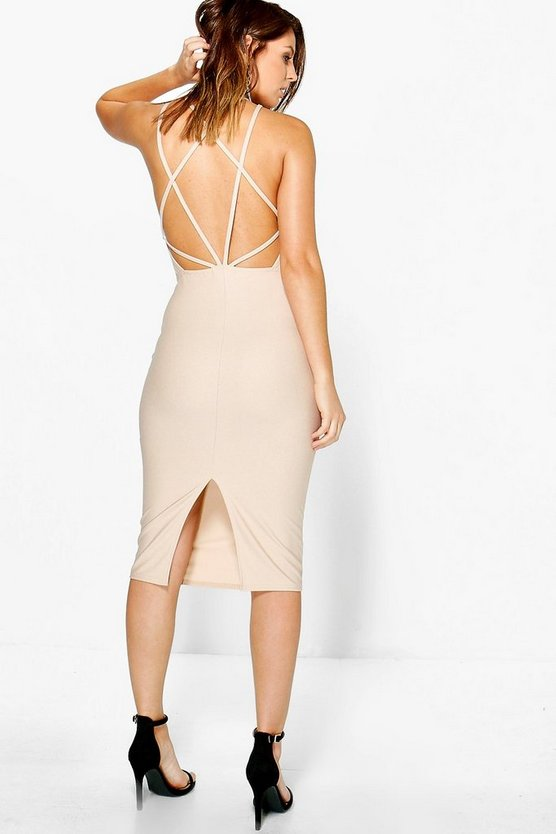 Mia Crepe Strappy Back Midi Bodycon Dress
