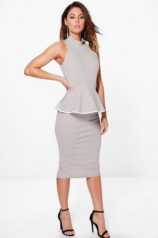 Ash High Neck Contrast Detail Peplum Midi Dress