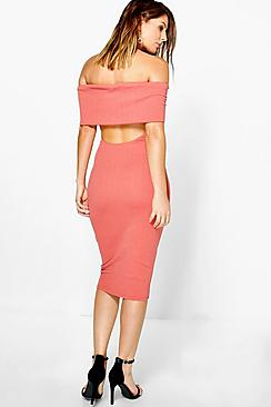 Kady Oversized Bardot Open Back Midi Dress