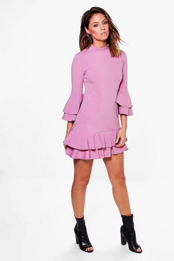 High Neck Double Frill Shift Dress