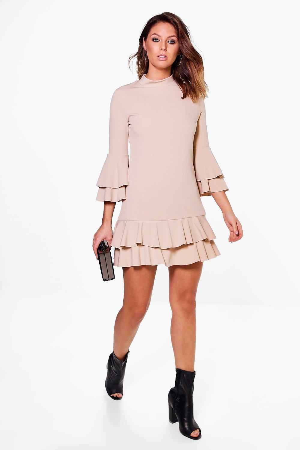 Bridget High Neck Double Frill Shift Dress