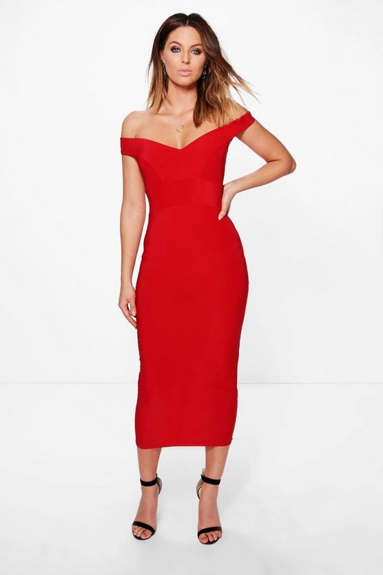 Skye Slinky Off Shoulder Bodycon Midi Dress