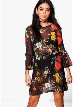 Joslyn Mesh Dark Floral Frill Shift Dress