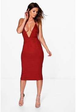 Larisa Strappy Suedette Midi Dress