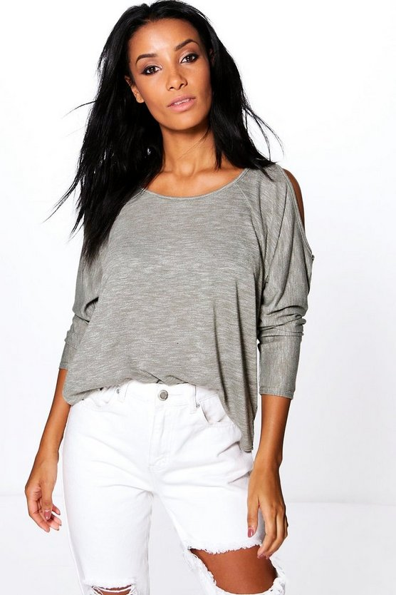 Lola Cold Shoulder Loopback Long Sleeve Top